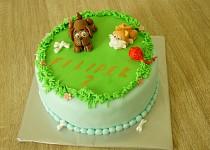 Dětský dort s pejskem a kočičkou