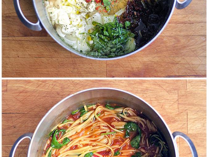 Eintopf špagety z jednoho hrnce