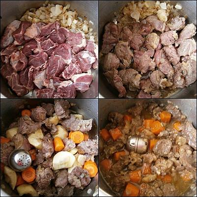 Na orestované cibuli osmažíme maso,přidáme všechny uvedené suroviny a pod tlakem dusíme 35 minut
