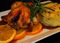 Kuřátko na pomerančích s omáčkou z rumu, čokolády a pomeranče