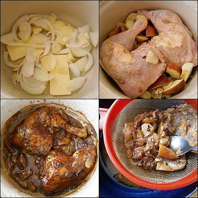 Na dno pekáčku dáme plátky másla,nakrájený česnek a cibuli.Přidáme jablka,koření,maso,podlijeme a upečeme.Šťávu vlijeme do síta