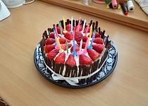 Nadýchaný dort s jahodami