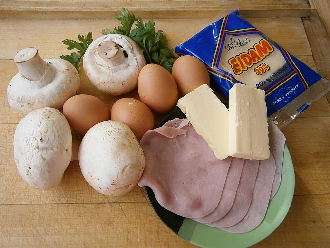 Žampiony se šunkou a vejci, dušené v pánvi, Část použitých surovin