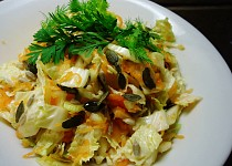 Salát z mrkve, fenyklu a zelí