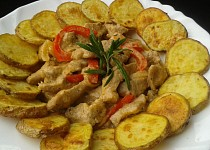 Vepřové nudličky s bramborovými dukátky