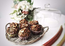 Bezlepkové makové muffiny s rebarborou