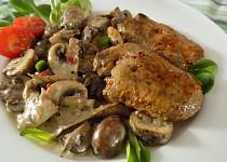 Marinovaná kachní játra s houbovým ragú