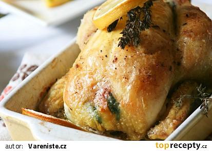 Jarní kuřátko plněné špenátovou nádivkou