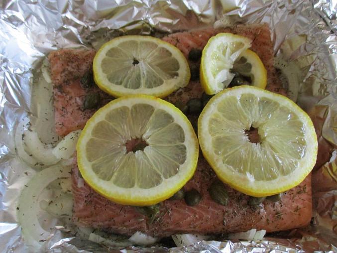 Lososové filety s kapary a citrónem, Příprava lososa s kapary a citrónem