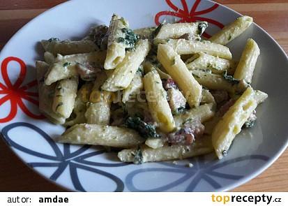 Penne/těstoviny s mandlovou smetanou, špenátem a medvědím česnekem