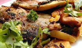 Pstruzi, zapečení s hlívou a brambory