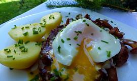 Krkovička se smetanovými liškami a ztraceným vejcem