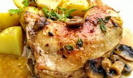Kuře na  másle a  čerstvé majoránce
