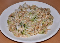 Těstoviny s brokolicí, kuřecím masem a sýrem