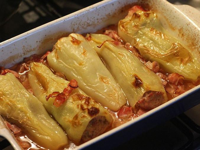 Pečené papriky plněné smetanovou směsí