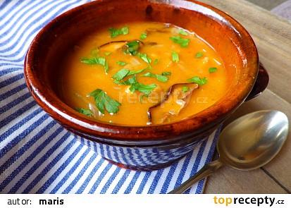 Polévka z čerstvého zelí s houbami a cizrnou