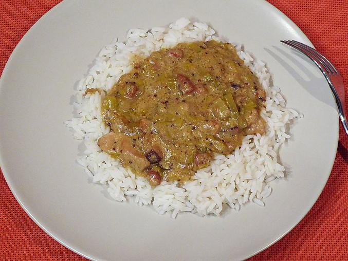 Krémové kuře s pórkem, Krémové kuře s pórkem – varianta s rýží