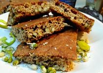 Chlebová  placka  ze žitných  a ovesných otrub se semínky