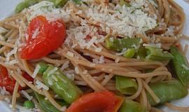 Špagety s cukrovým hráškem