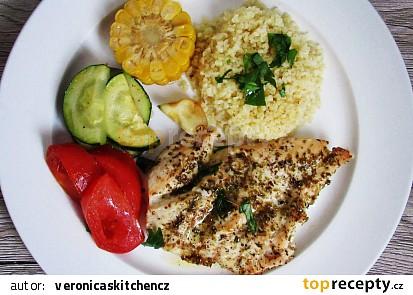 Pečená kuřecí prsa s bulgurem a zeleninou