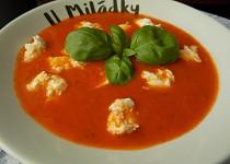 Rajčatová polévka s bazalkou a mozzarellou