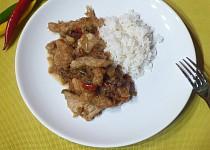 Vepřové stripsy s rýží