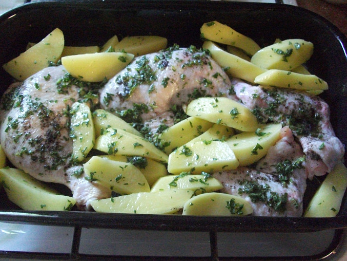 Pečené kuře po řecku