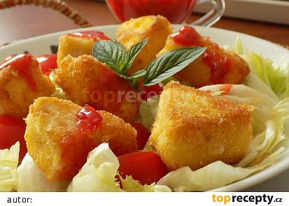 Ledový salát s teplými hermelínovými kousky