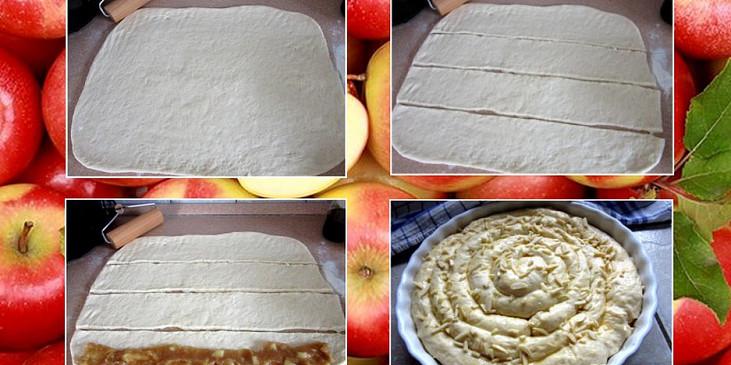 Šnek z kynutého těsta s jablečnou náplní