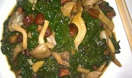Japonský salát se špenátem a hlívou