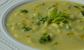 Česnekovo-pórková polévka s bylinkovým kapáním