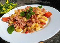 Rychlý oběd (večeře),  těstoviny se zelím a slaninou