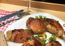 Kuře na víně se slaninovými závitky se zelím
