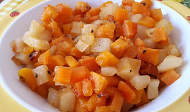 Hokkaido pečená s mrkví a bramborami - pro nejmenší