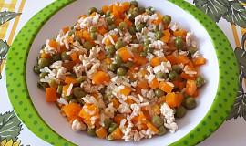 Krůtí rizoto s mrkví a hráškem - pro nejmenší