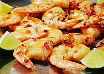 Krevety s chilli, medem a zázvorem