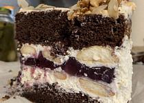 Špaldový dort s mascarpone a borůvkovým želé