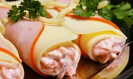 Sýrovo-šunkové balíčky s jemnou pomazánkou