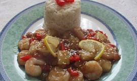 Medové krevety s ananasem