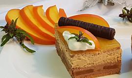 Čokoládovo-karamelové kostky s kaki