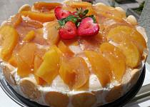 Nepečený broskvový tvarohový dort