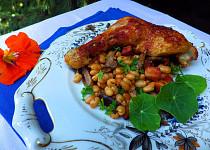 Kuře s fazolemi a houbami