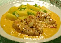 Kuřecí plátky v česnekové omáčce se sýrem