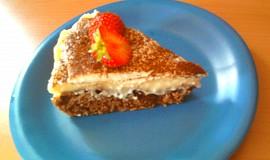 Kakaový koláč s pudingem a kysanou smetanou