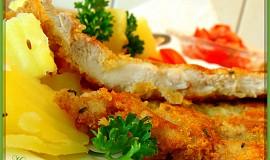 Kuřecí řízky v sýrové krustě se šalvějí