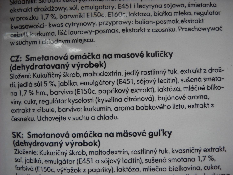 Zadní strana omáčky IKEA