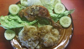 Pečené kuře na cibuli a česneku s rýží