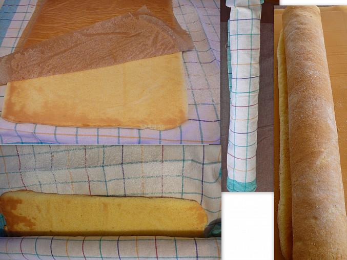 Roládkové zákusky, překlopit na cukrovanou utěrku,papír pryč a srolovat