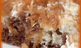 Kakaovo-tvarohové řezy s jablky a kokosem