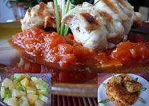 Kuřecí kebaby na rajčatové omáčce s kukuřičnými smaženkami